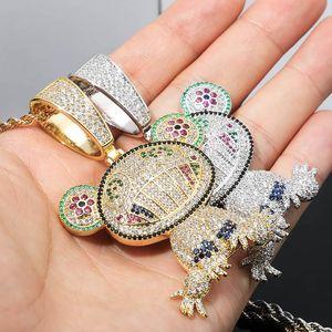 Collares colgantes Collares 2021 Iced Out Animal con cadenas de oro de 3mm Color Color Cubic Zirconia Mens Mujeres Hiphop Regalo de Joyería