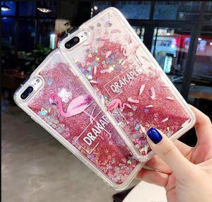Liquid Soft TPU Case For Iphone 12 Mini 11 Pro Max X XS XR 7 Plus 8 6 6S 3D Quicksand Bling Snow Flower Flamingos Drakaple Clear Phone Cover