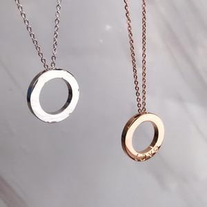 Luxo de aço inoxidável jóias círculo colar seis unhas sem diamante amor colar pingente luxo versátil forma perfeita duas cores