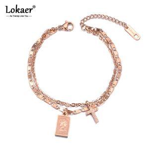 Lokaer Double Layers Retro Cross Tag Charm Bracelet Elizabeth Coin Jewelry Titanium Steel Chain & Link Women's Bracelet B19043