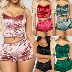Neue Stil Damen Zwei Stück Samt Nachtwäsche Sets Sexy Spaghetti Strap Shorts High Qualität Pyjamas Frauen Pyjama Party Set