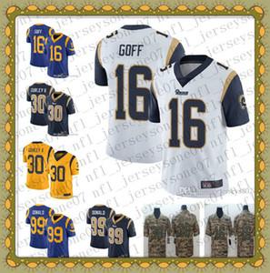 Juventude Los Angeles de homensram99 Aaron Donald 30 Todd Gurley II 16 Jared Marinha Goff azul Salute to Serviço Football Jerseys