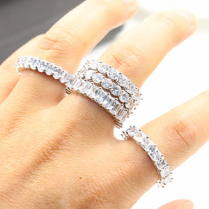 Vintage Fashion Jewelry Real 925 Sterling Silver Princess White Topaz CZ Diamond Eternity Women Wedding Engagement Band Rings Gift Love Ring