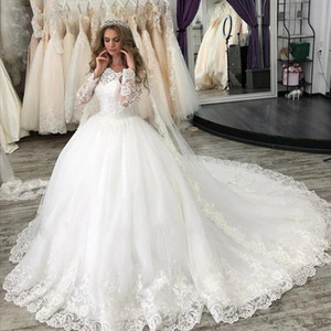 Custom Long Sleeves Ball Gown Lace Wedding Dresses 2021 with Appliques Court Train Tulle Bridal Gowns Vestido De Novia