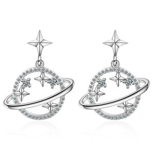 Glittering Universe Planet Star Zircon Dangle Charms Earrings with Silver Gold Color Crystal Sweet Earring for Women Girl Gift