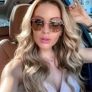 High Quality Round Brand Sunglasses Sunglasses 2020 Women's Women Frame Vintage For Luxury Shades Metal Woman Waolo
