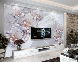 High - grade exquisite jewelry flowers living TV backdrop 3D wallpapers home decoration murals wallpaper