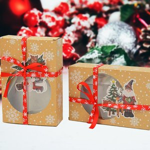 2pcs European New Style Kraft Paper Large Candy Boxes Christmas Window Biscuit Packaging Box Wedding Party Gift Boxes Xmas Decor
