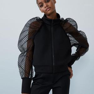 Женская одежда осень женская куртка в горошек точка слоеная рукава твердого цвета короткие винтажные мода мода вскользь