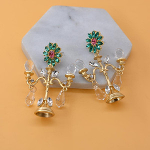 Baroque Crystal Chandelier Fashion Vintage Earrings Exaggerated Ear Ornaments Retro Long Drop