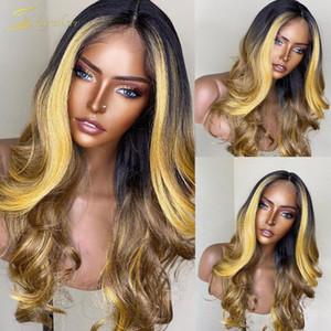 Pelucas de encaje Honey Rubio Rubio Ombre Color humano Peluca Cuerpo Preplucidada Completa Onda HD Transparente Resaltado 13x6 Frente para mujeres negras