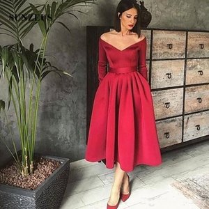 Homecoming Dresses Off The Shoulder Evening Dresses Long Sleeves Short Tea Length Pleated Satin Formal Prom Party Gowns P164