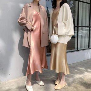 2020 spring women solid spaghetti strap sdress lady high waist Satin trumpet long dress female v neck Vestido