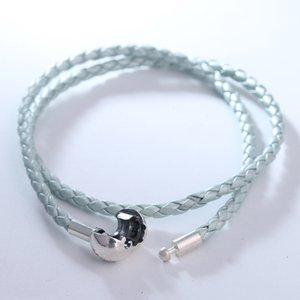 Pearl light blue Double Leather Bracelet Fits sterling silver Original Charms & Beads For Woman DIY Jewelry Making