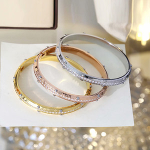 Europe America Fashion Style Lady Women Titanium steel Engraved V Initials Flower Settings Diamond Rivets Bangle Bracelet 3 Color