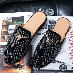 2020 Новые Мужчины Повседневная Оригинальные Обувь Обувь Половина Перетаскивания Летние Квартиры Обувь Мужчины Мода Человек Повседневная Кроссовки Удобные Половины Тапочки Мужская C1120