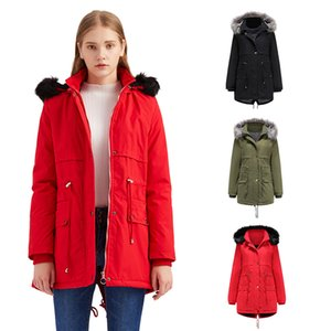 New winter cheap women's clothing, large fur collar, cotton-padded jacket, plus velvet thickening, removable cap, warmth, Womens down jacket