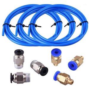 Tube ptfe bleu tube bleu (1,5 mètre) avec 3 pièces PC4-M6 Raccords PC4-M6 et 3 pièces PC4-M10 Straight Pneumatique PEFE Tube PEFE PU1