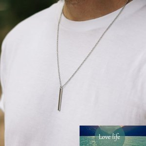 Men Necklace Stainless Steel Necklace Women Men Simple Long Chain Rectangular Pendant Necklace Statement Couples Choker Gifts