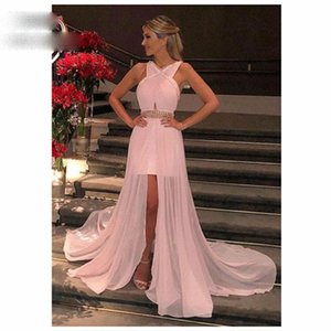 2021 Pink Prom Evening Dresses Long Pleat Beaded Chiffon Zipper Back Women's Prom Gown Custom Made
