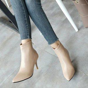 Domens tacchi a punta di punta scarpe laterale zipper tacco alto tacco alto corto peluche boots stivaletti da donna stivali moda casual # y11