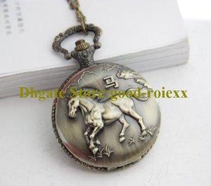 Pferdversion Vintage frauen Taschenuhr Halskette Zubehör Pullover Kette Damen Hängende Herren Quarz Taschenuhren A00041