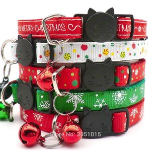 100pcs Cat Face Christmas Dog Pet Cat collar Snowflake print Red Green Festival decoration Christmas Party Gifts Puppy Morning Z1127