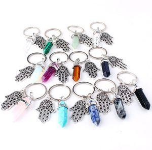 Natural Stone Fatima Hamsa Keychain Fashion Keyring Jewelry Healing Crystals Amethyst Rose Quartz Bead Key Ring Charm Key Holder Kimter-K8FA