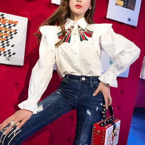 2019 New Womens Blouses Shirt Party Ruffles White Spring Big Bows Embroidery Long Sleeve Blouse Blusa Shirts Femininas NS746