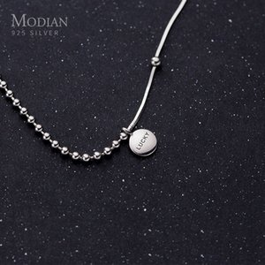 Modian Authentic 925 Sterling Silver Coin Engraved Lucky Little Ball Pendant Necklace for Women Chokers Necklace Fine Jewelry F1202
