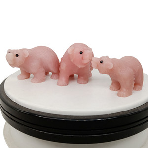 2 inch natural talc hand-carved bear figurine cute animal sculpture ornaments office home accessories crystal agate stone art collection