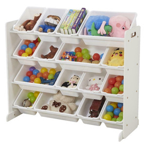 Wooden Kids' Toy Storage Organizer with 16 Plastic Bins X-Large Safety White