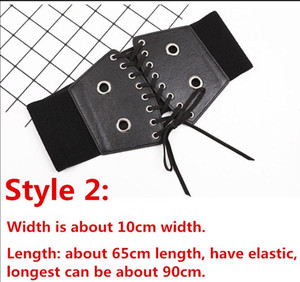 Fashion Self Tie Bow Wide Belts Lady Elastic Slim Corset Body Shaper Black Faux Leather Punk Silver Rivet Waistbands Cummerbund wmtYiP
