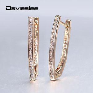 585 Rose Gold Drop Earrings Shaped Long Clear Cubic Zircon Huggie Dangle Earrings for Women Party Wedding Jewelry Gift LGE296
