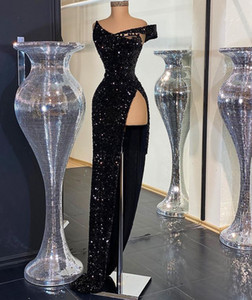 Aso Ebi 2020 Arabic Black Sparkly Sexy Evening Dresses High Split Prom Dresses Sequined Formal Party Second Reception Gowns ZJ596