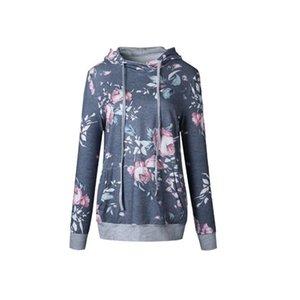 Donne con cappuccio con cappuccio fiore stampa cappotti su maniche lunghe pullover inverno camicette all'aperto Felpe Outwear M142