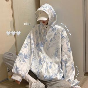 Tie Dye Print Hoodie Sweatshirt Women Casual Loose Oversized Hoodie Long Sleeve Ladies Sweatshirts Pullovers Tops Y1116