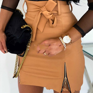 Women Sexy Solid Skirts With Bandage Fashion High Waist Casual Zipper Skirt Ladies Elegant PU Leather Bag Buttcks Skirts Female