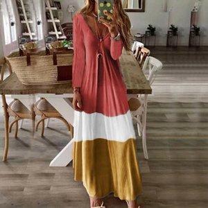 New Vintage Womens Dress Long Sleeve Boho Party Dress Summer Autumn Loose Soft Ladies Casual Kaftan Long Maxi Dresses