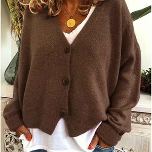 Women Designers Clothes 2020 Fashion Joining Wholesale Long Sleeve Single-Breasted Loose Type V-Neck Pure Color Women Blouses Cardigan