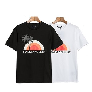 Street tide PA sunset dusk coconut tree landscape pattern short sleeve trendy men and women casual crew neck OS short TMWVDFI3AI7HR