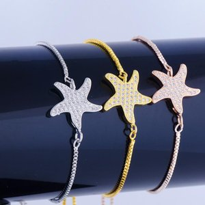 Shining Micro Pave Zircon Crystal Starfish Charms Bracelets Handmade Copper Square Chain Women's Bracelets Diy Pulseira Feminina