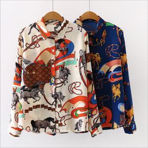 Diseñador de las mujeres de la solapa del cuello del botón de la blusa de la primavera caída de flores retro impresión de lujo Cardigan blusas camisas de la manera camiseta de manga larga Tops