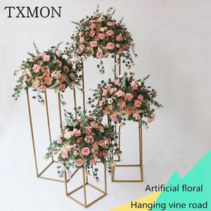 Txmon New Road Road Flower Flower Hierro Fabricado Geometría Road Flower Sen Vine Boda Mesa Manera Floral Boda Diseño