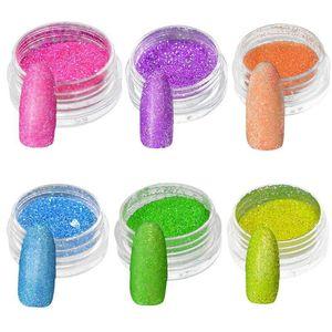 Nail Art Glitter Powder Sand Neon Fluorescent Luminous Dark Glow Neon Pigment Dust Nail Decoration Decals Tips Manic jllqbr