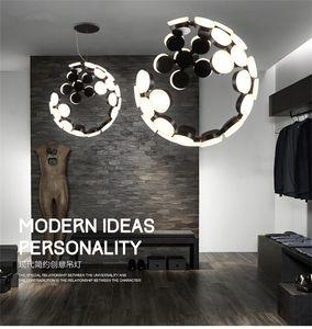 Italian  pendant lamp Creative moon lamp white Black Color suspension lamp Bedroom Dining room Kitchen island chandelier