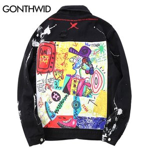 GONTHWID Hip Hop Graffiti Cartoon Ripped Denim Jackets Mens Casual Distressed Jeans Jacket Coat Streetwear Fashion Male Tops 201124