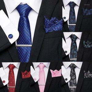 Classical 7.5cm 100% Silk Blue Novelty Tie Clip Cuffink Handkerchief Tie Set Ties For Men Formal Dress Wedding Party Mens Ties1