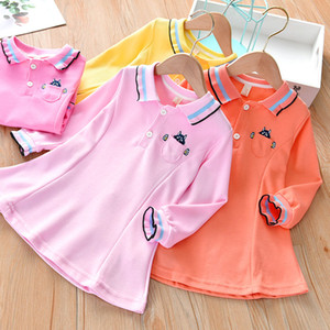 Baby Spring Clothing Dress New Childrens Cute Pocket Embroidered Skirt Girls Lapel Knitted Short Skirt