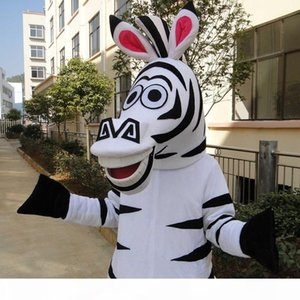 Madagascar Zebra Mascot Cartoon Animal Mascot Costumes Halloween Costume Fancy Dress Adult Size High quality Free Shipping